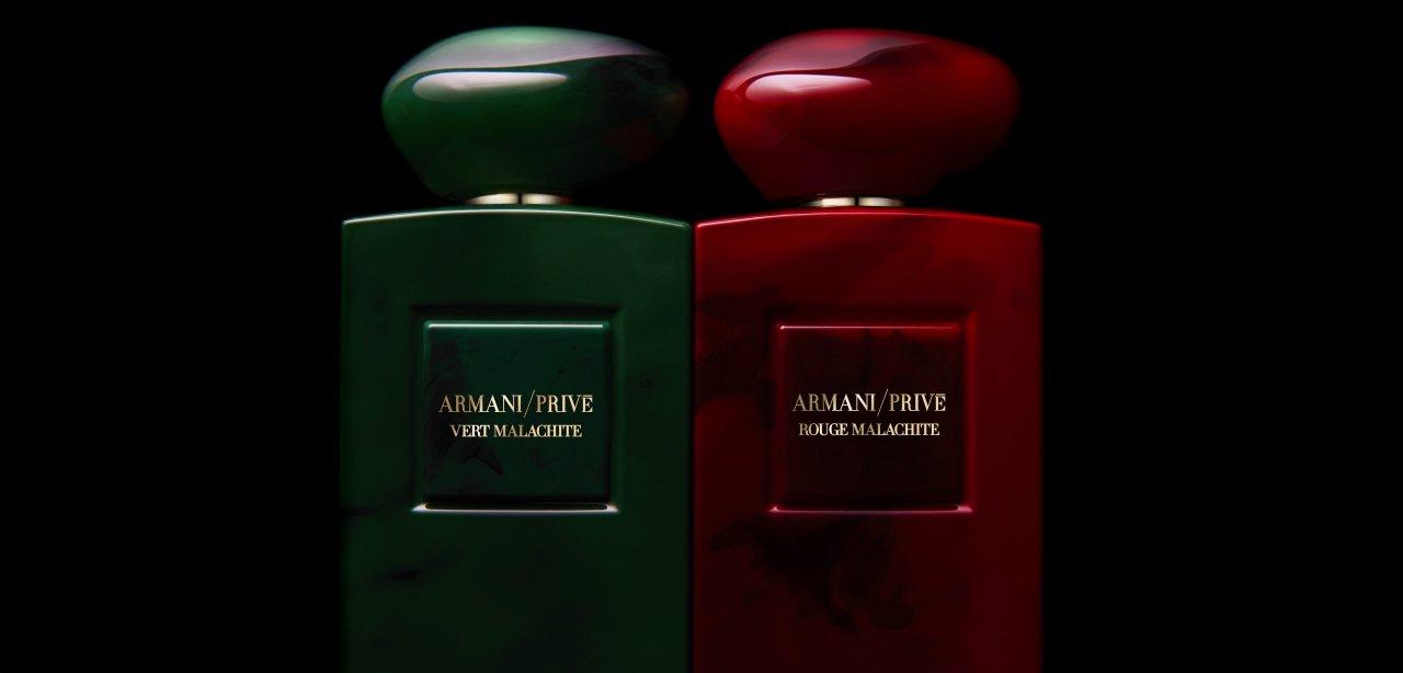 Armani Privé Vert Malachite y Rouge Malachite primer plano