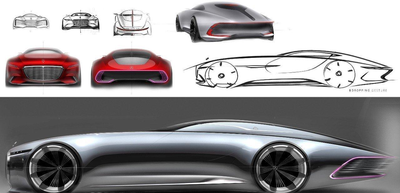 Bocetos y diseños de concepto para el prototipo del Vision Mercedes-Maybach 6 Concept
