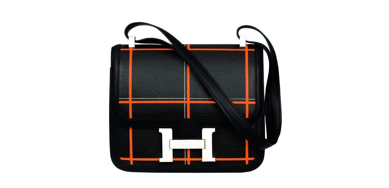 Bolso negro y naranja Hermès