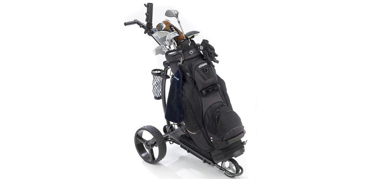 Carrito Golfideal Rider L2 con la bolsa y los complementos