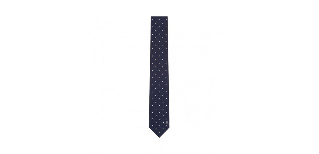 Corbata azul marino con motas