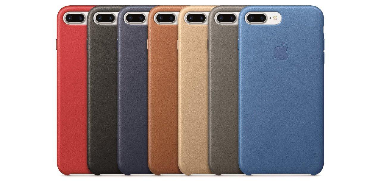 Detalle de las fundas de cuero oficiales del iPhone 7 Plus