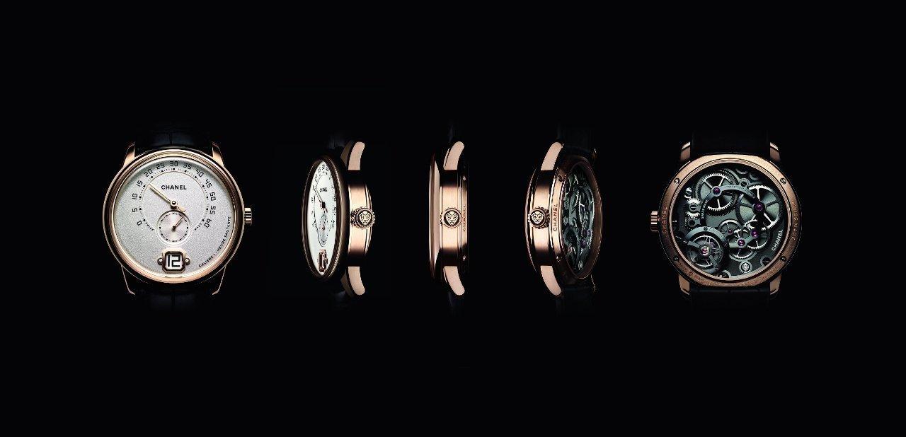 El reloj masculina Monsieur de Chanel visto desde varios angulos