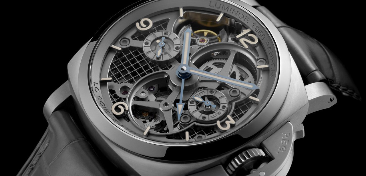 El reloj Panerai Lo Scienziato Luminor 1950 Tourbillon GMT Titanio