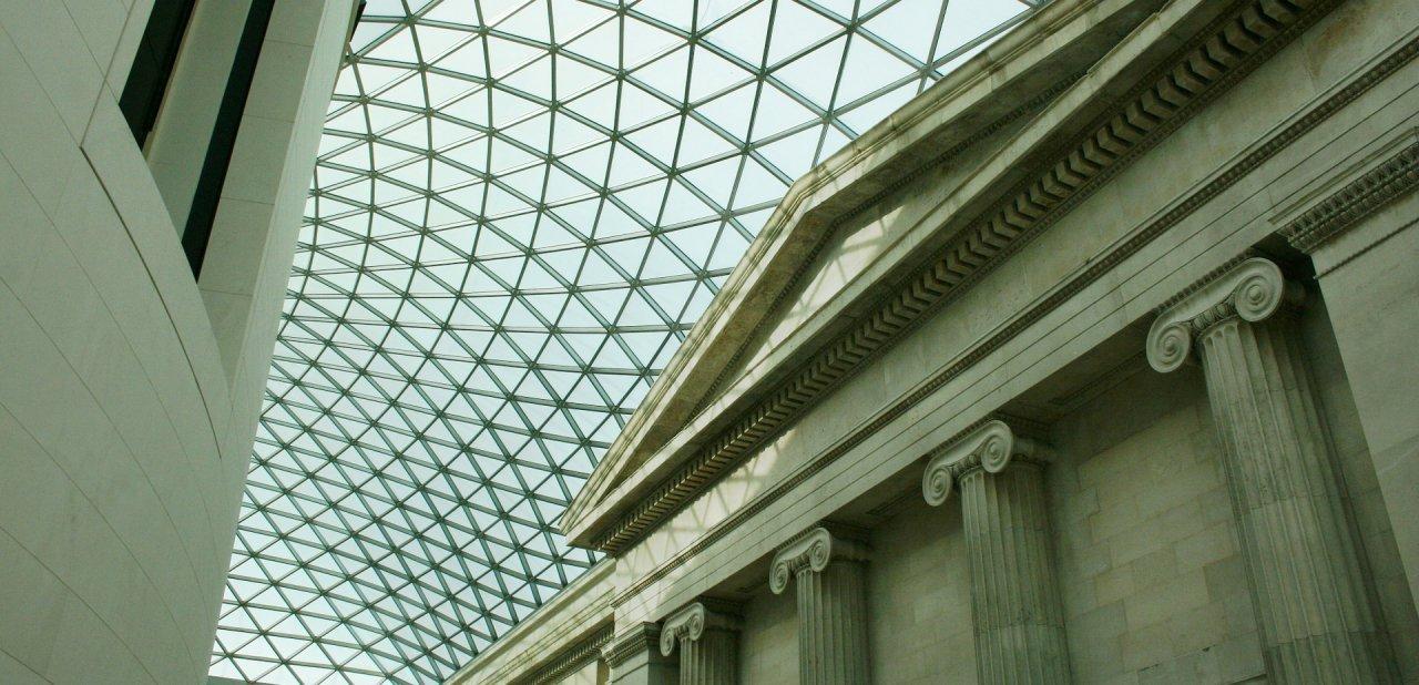 El techo de una de las salas más famosas del British Museum