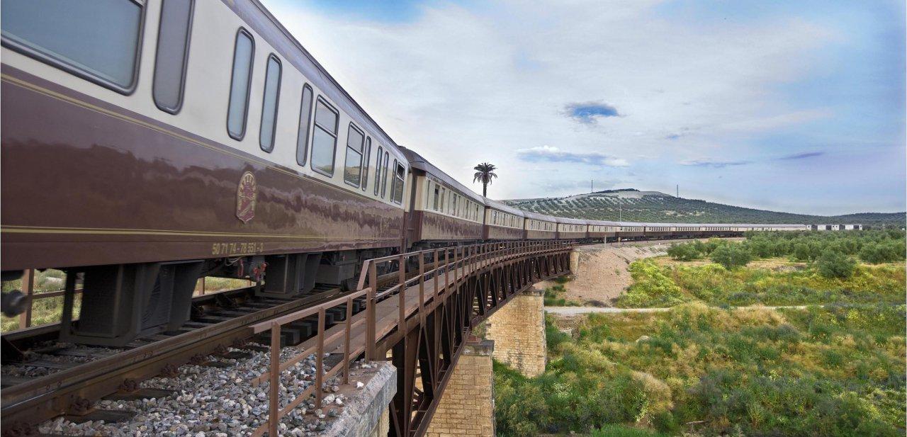 El tren Al Andalus cruzando un puento