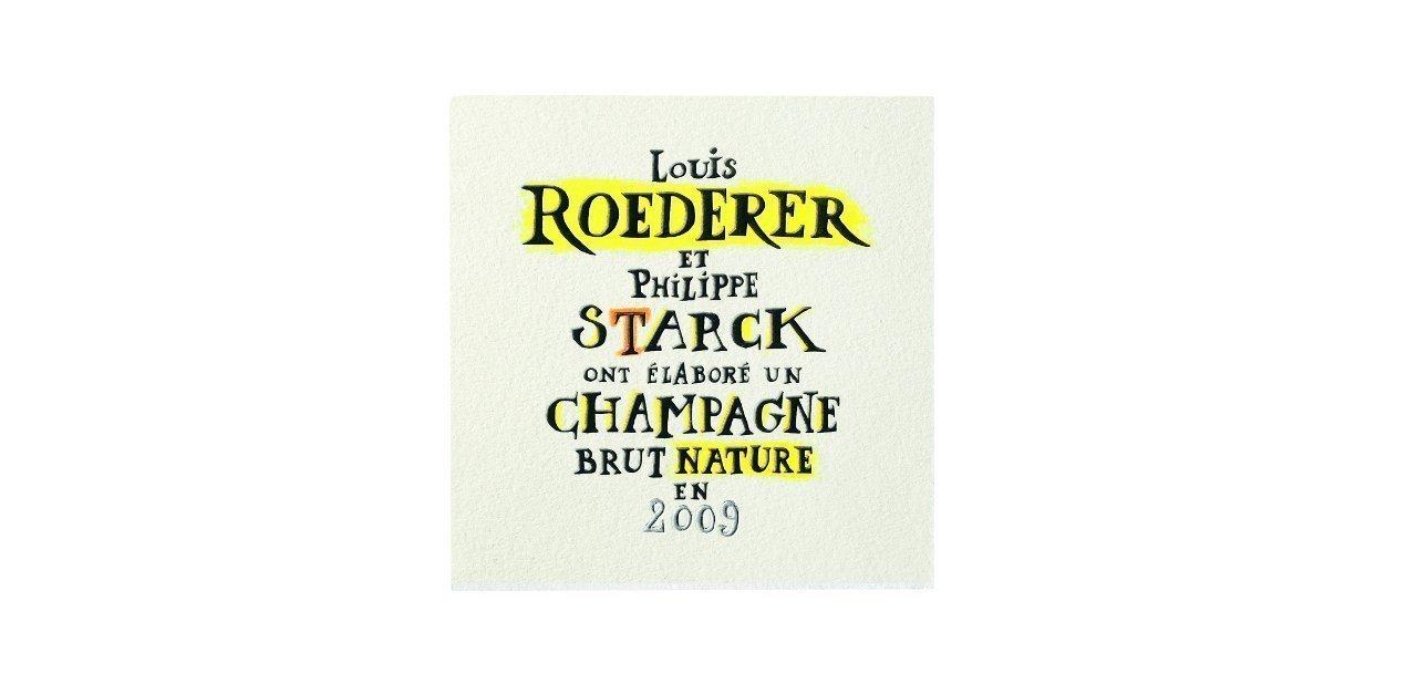Etiqueta del Louis Roederer Brut Nature 2009 by Philippe Starck