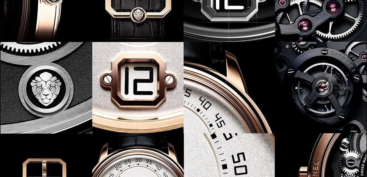 Fotocomposición con diferentes detalles del reloj Monsieur de Chanel