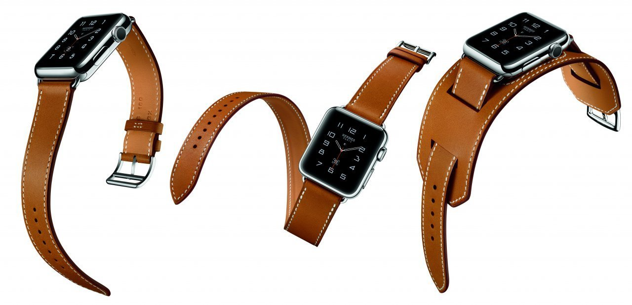 Fotocomposición del Apple Watch Hermès Simple Tour, Double Tour y Manchette