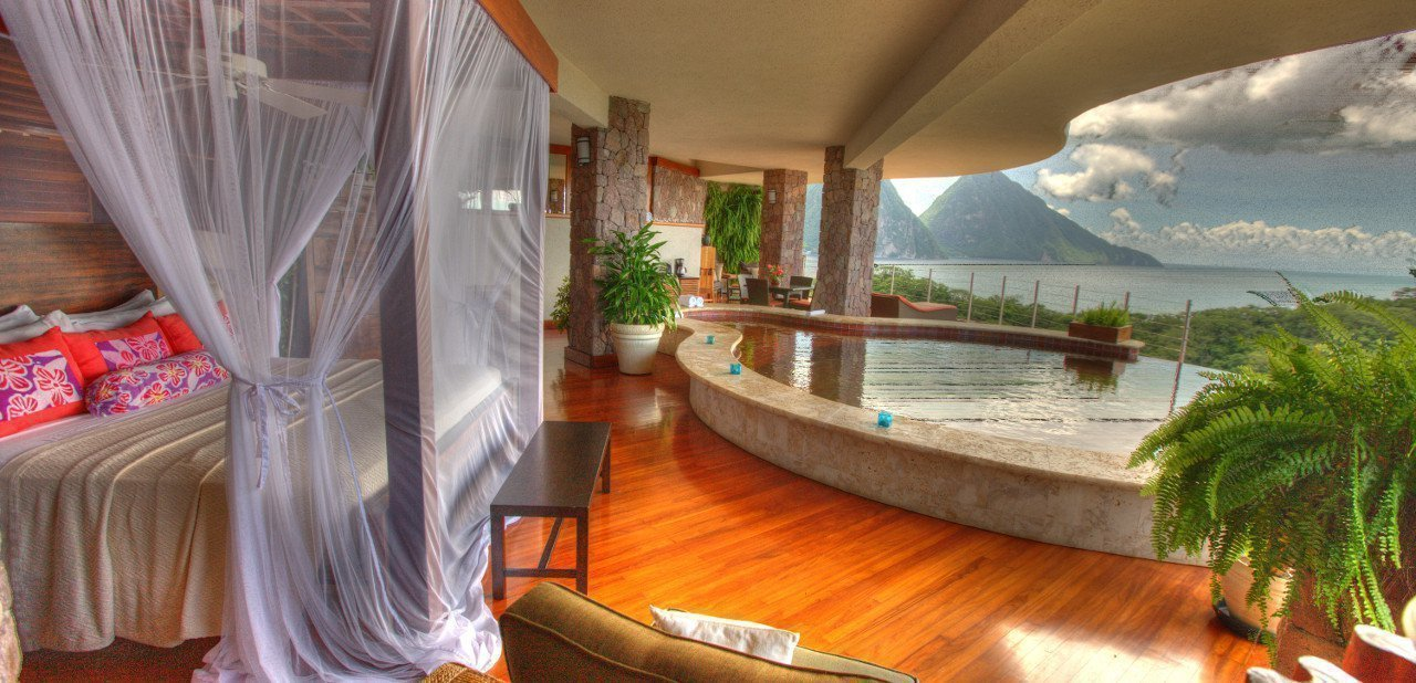 Habitación del Jade Mountain Resort con piscina