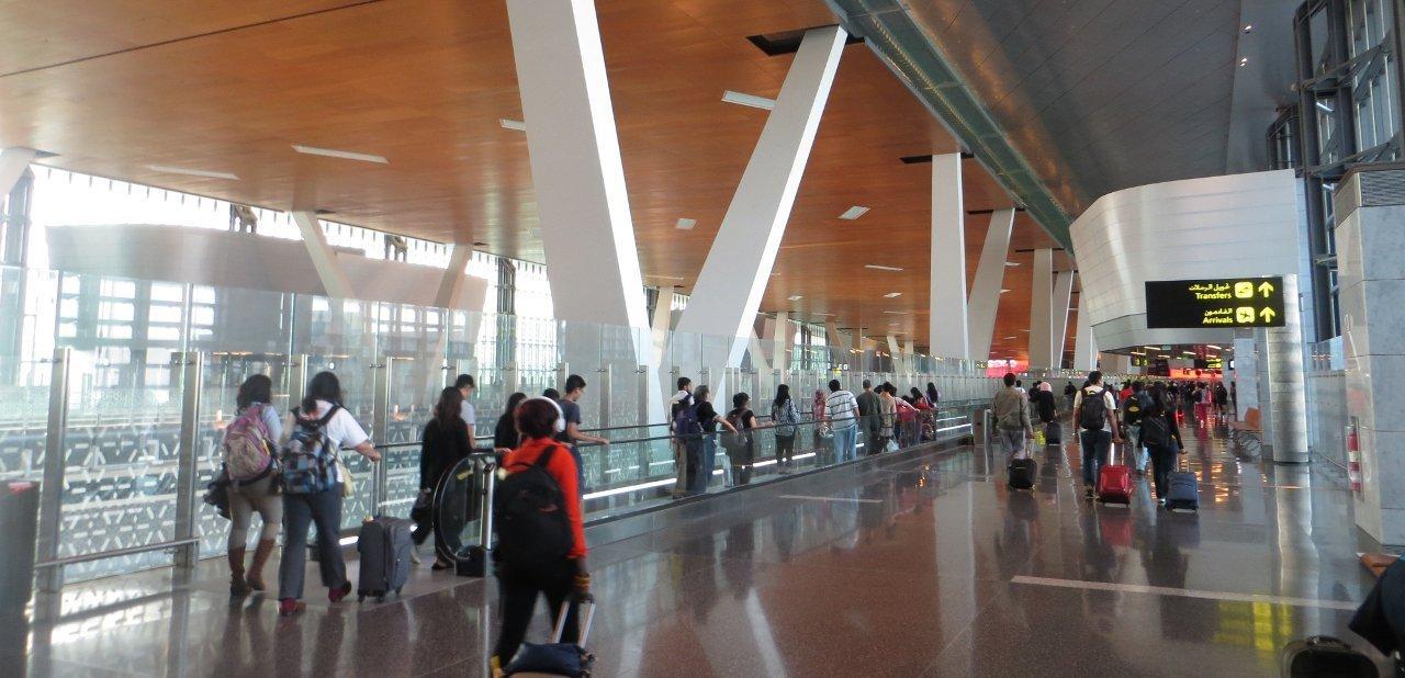Interior del aeropuerto de Hamad, Qatar