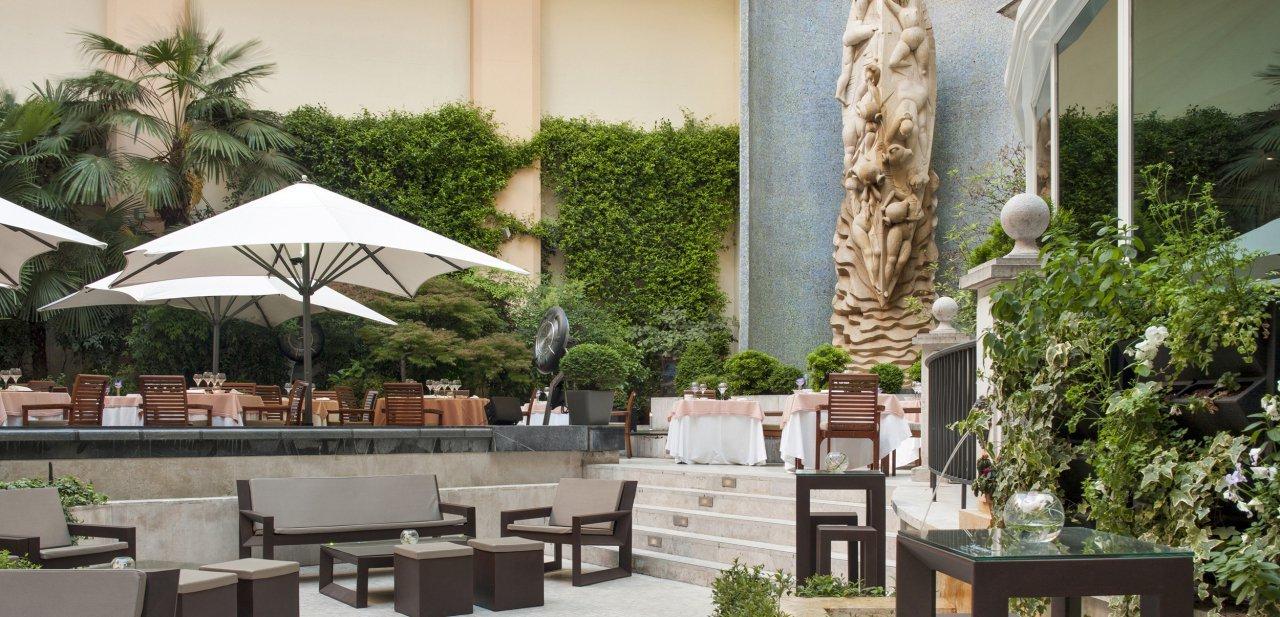 La terraza del restaurante El Jardín del InterContinental de Madrid