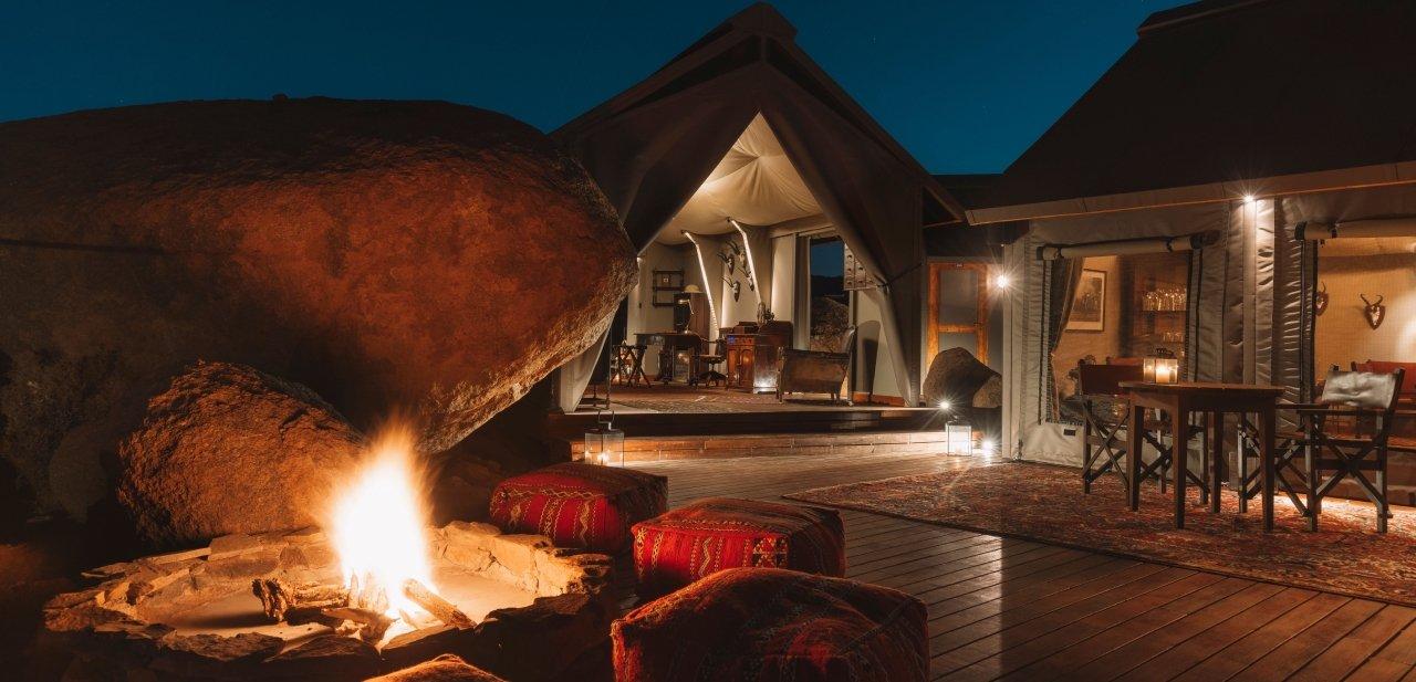 Noche en tienda de campaña de lujo en el desierto del Namib