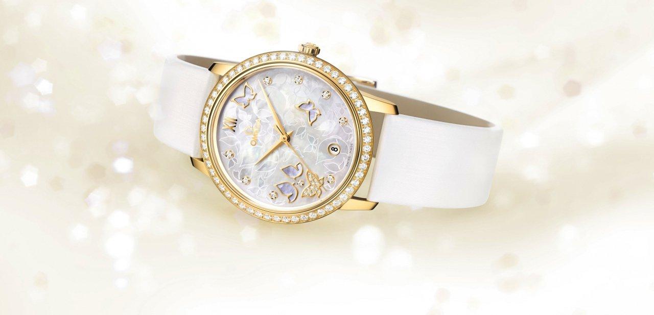 Omega De Ville Prestige 'Butterfly' de oro con pulsera de piel blanca