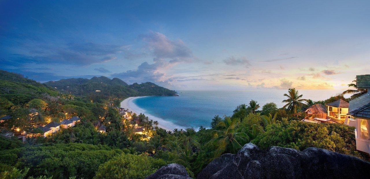 Panorámica aérea del Banyan Tree Seychelles