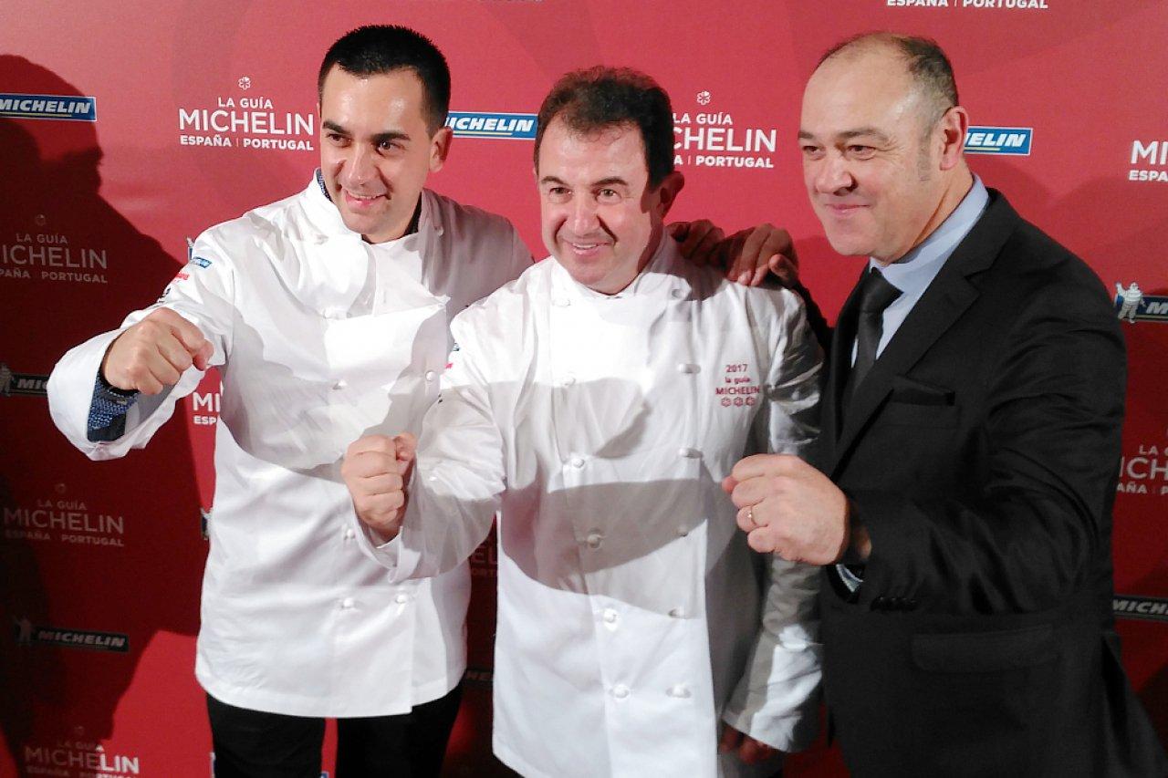 Paolo Casagrande, Martín Berasategui y Joan Carles Ibáñez del restaurante Lasarte