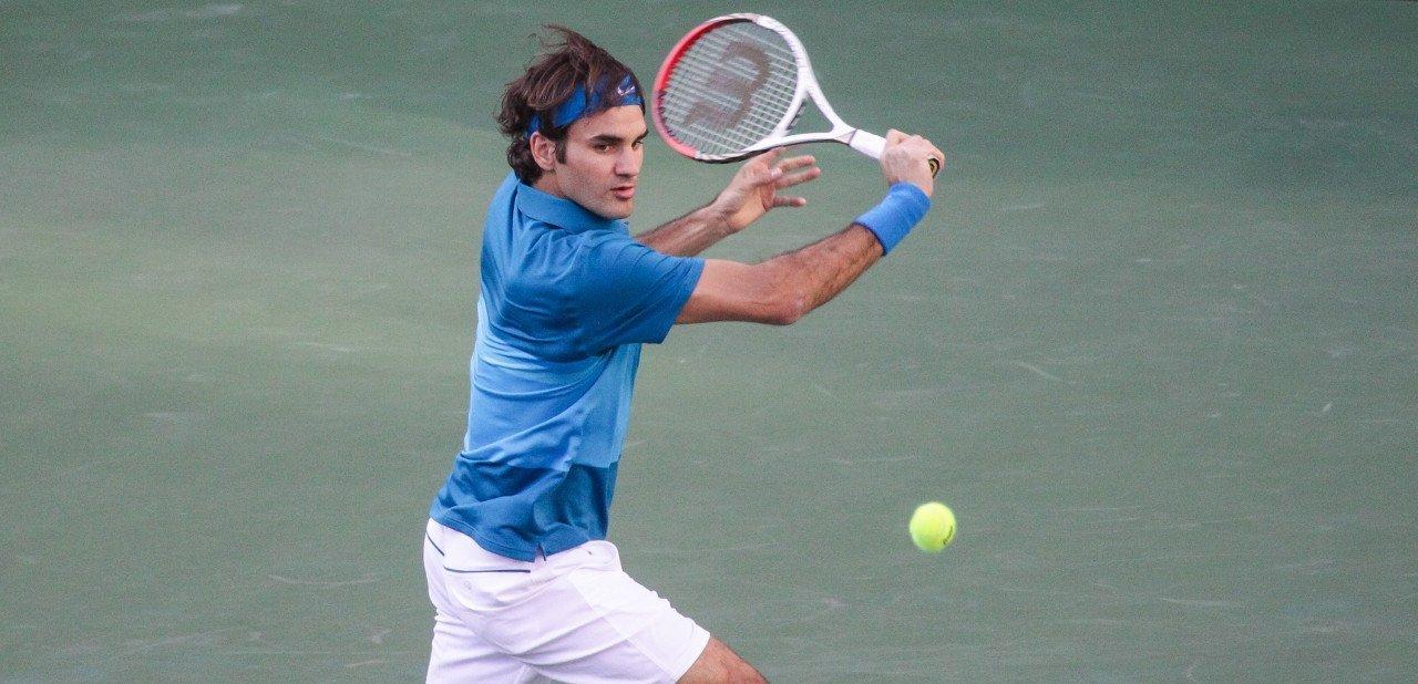Roger Federer jugando en Indian Wells