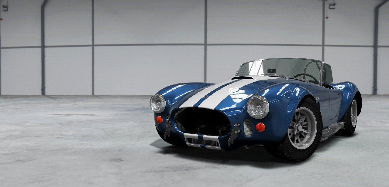 Shelby Cobra azul con la doble línea blanca clásica