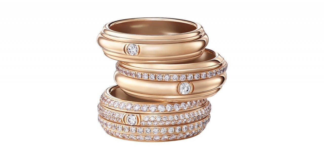 Tres de los anillos de la nueva colección de Piaget