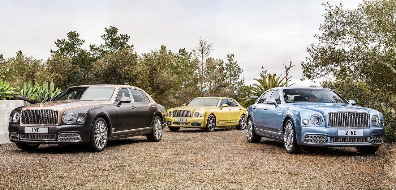 Tres de los modelos del Bentley Mulsane