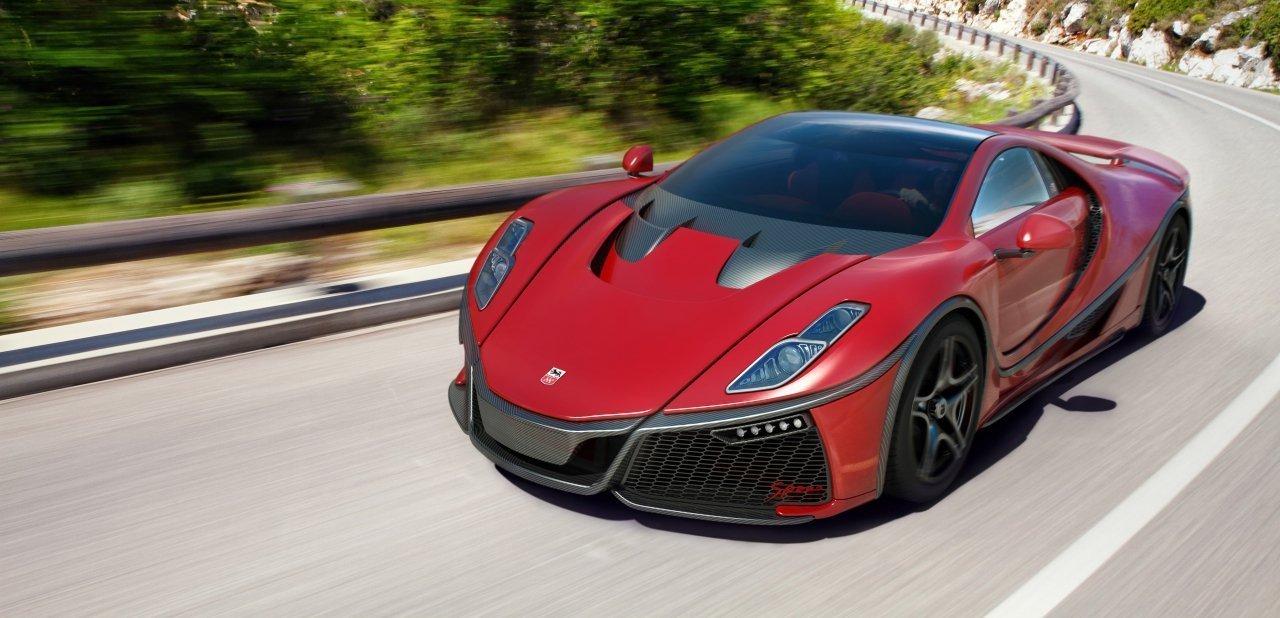 Un GTA Spano 2015 de color rojo circulando