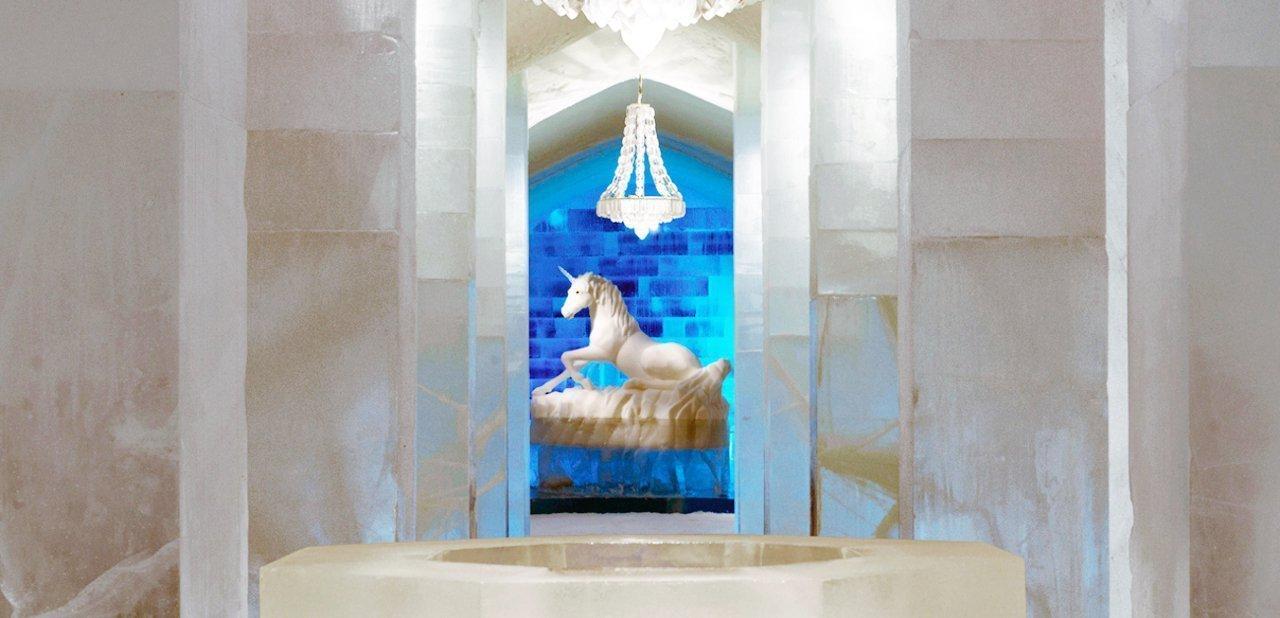 Una estancia del hotel de hielo de