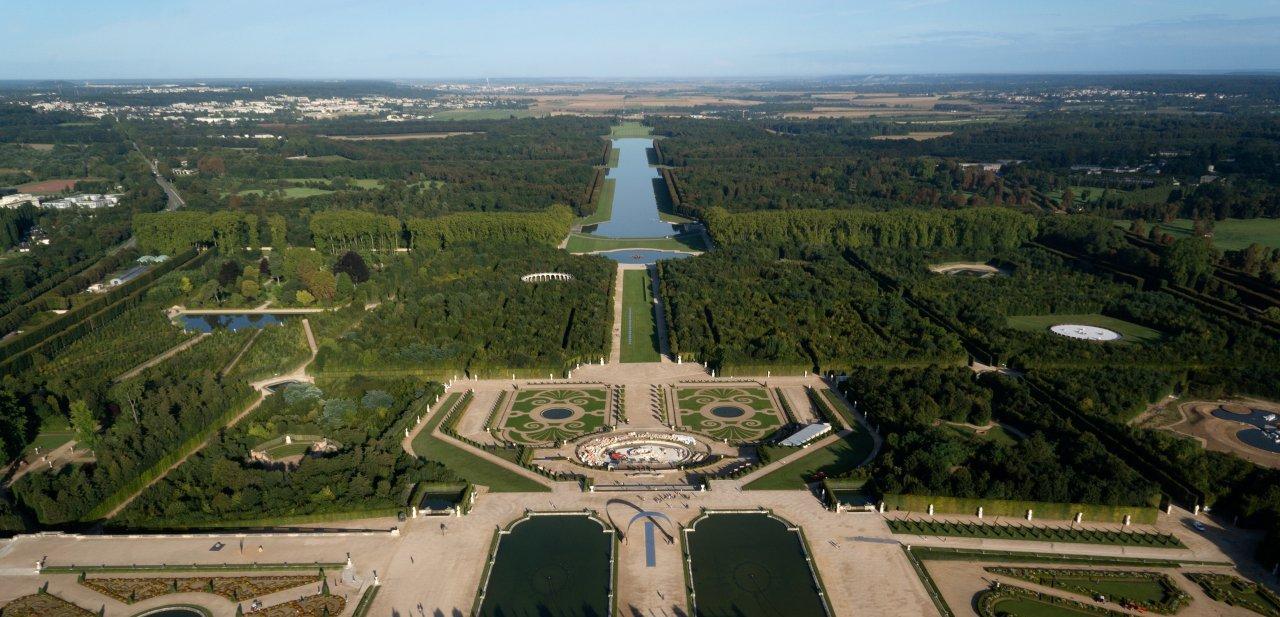 Vista aérea de parte de los jardines de Versalles