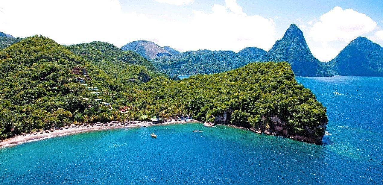 Vista aérea del Anse Chastanet Resort