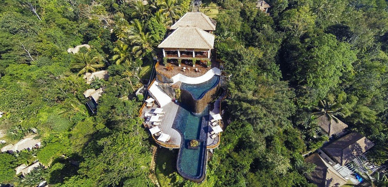 Vista aérea del Hotel Ubud Hanging Gardens