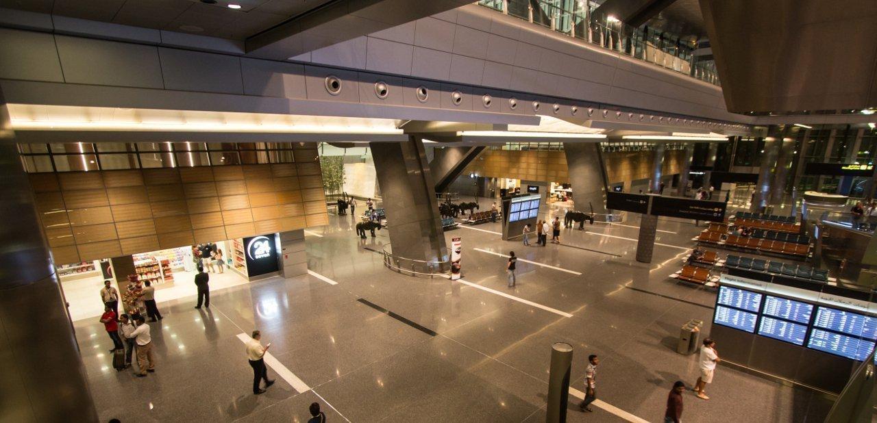 Vista aerea desde el interior del aeropuerto de Hamad, Qatar