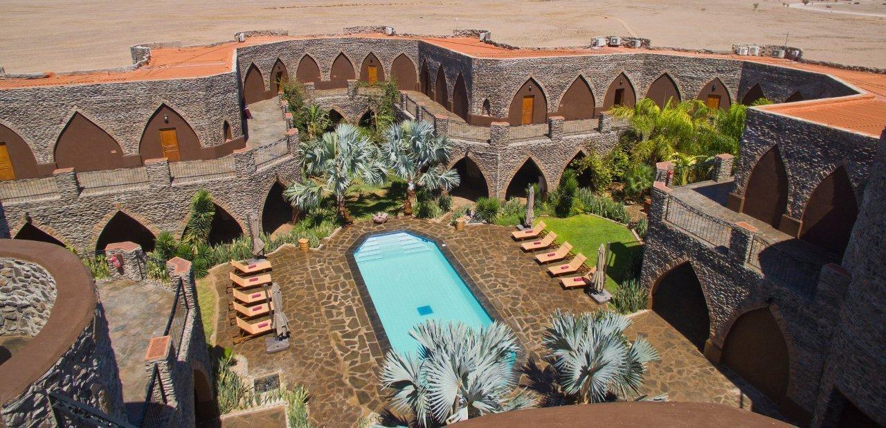 Vista cenital de una zona de Le Mirage Resort & Spa, Namibia