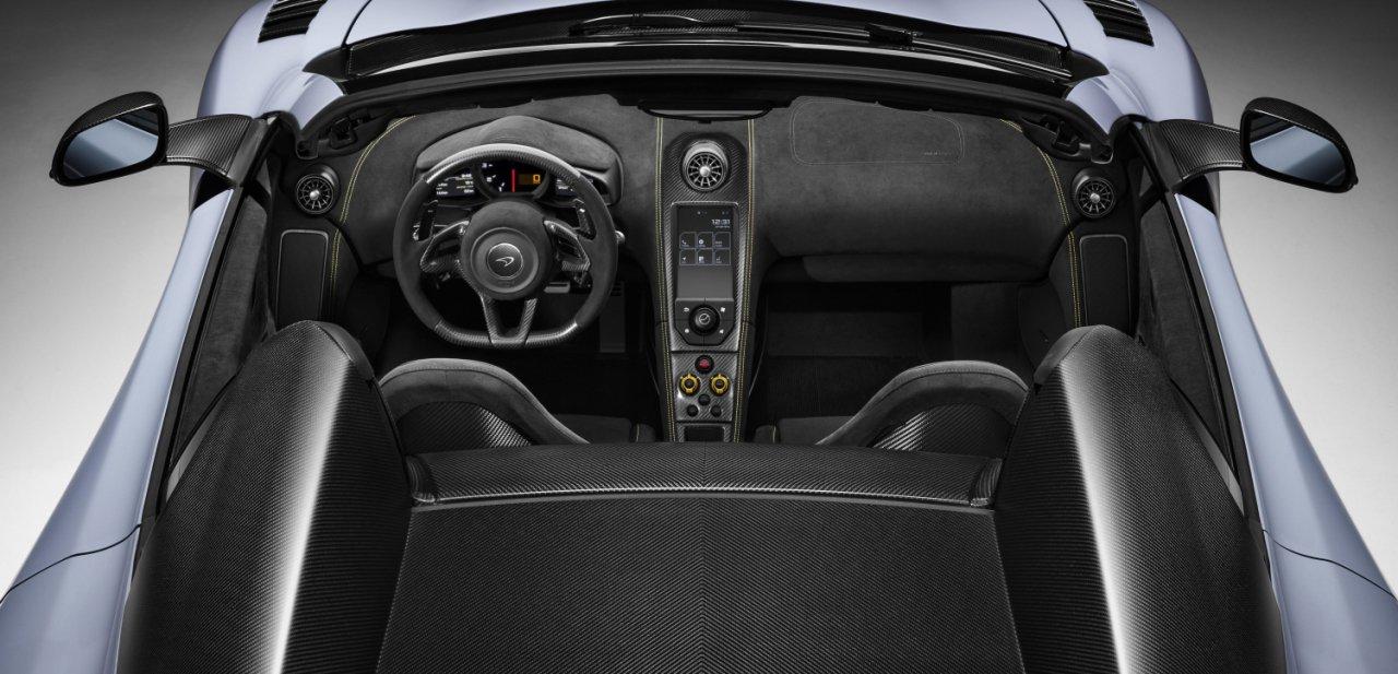 Vista cenital del habitáculo del McLaren 675LT