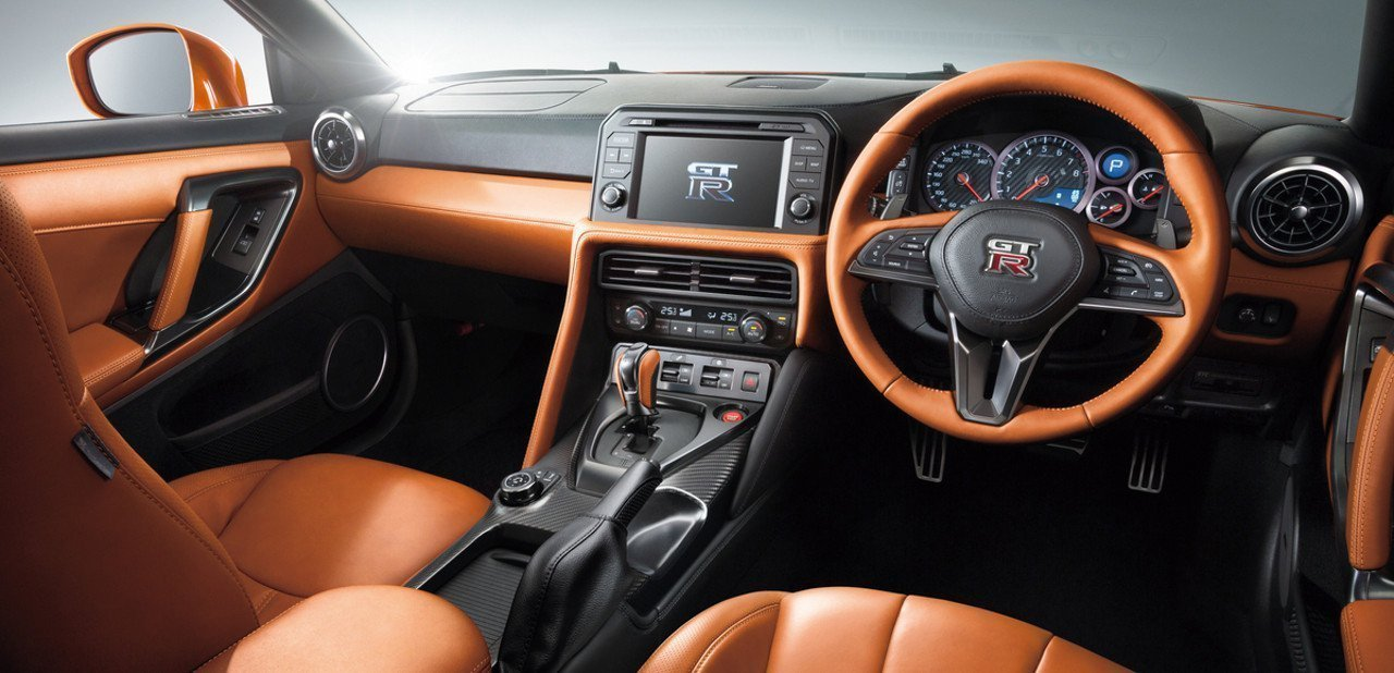 Vista del interior de un Nissan GT-R