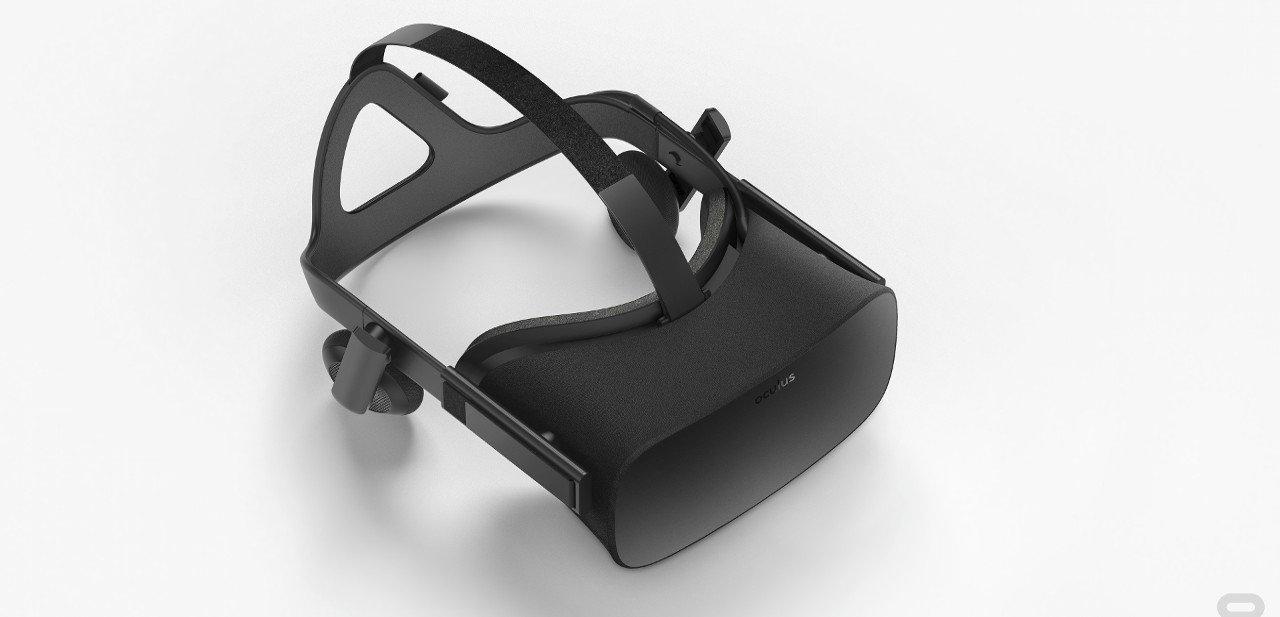 Vista superior de un casco Oculus Rift